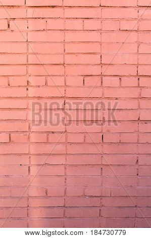Background of the red brick wall with horizontal masonry vertical shot