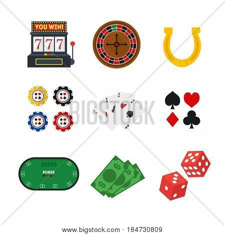 Cartoon Green Poker Table and Equipment Casino Set for Web and App Play Gambling Game Flat Design Style . Vector illustration