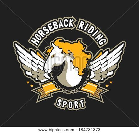 vector sport emblem for team titles at competitions winged horse on a black background