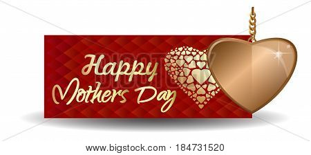 Mothers Day design. Red greeting card with golden heart. Vector illustration