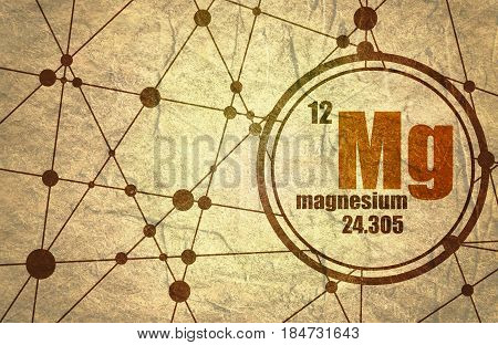 Magnesium chemical element. Sign with atomic number and atomic weight. Chemical element of periodic table. Molecule And Communication Background. Connected lines with dots. Grunge texture