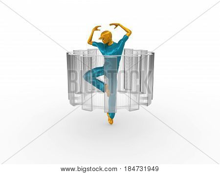 Young man wearing apron. Worker model dancing at the center of the wire frame gear. 3D rendering. Metallic material.