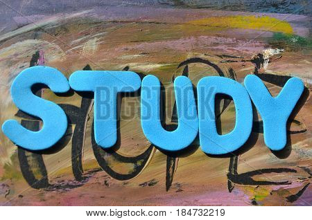 WORD STUDY ON A  ABSTRACT COLORFUL BACKGROUND