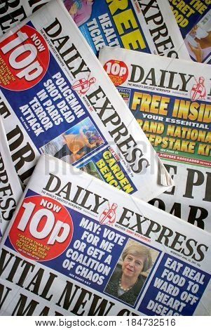 Bracknell, England - May 04, 2017: Copies of the Daily Express, a daily tabloid newspaper in circulation across the United Kingdom since 1900