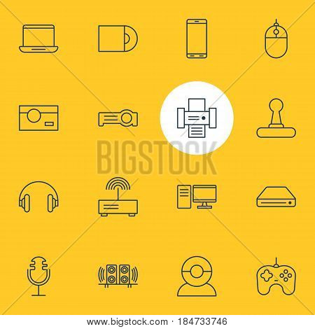 Vector Illustration Of 16 Accessory Icons. Editable Pack Of Dvd Drive, Sound Recording, Joypad And Other Elements.