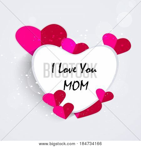 Illustration of hearts with i love you mom text for Mothers Day