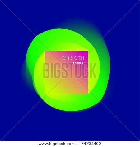Abstract colorful shape  on blue background with shadow. Overflowing the rounded shape in a square. Vector illustration.