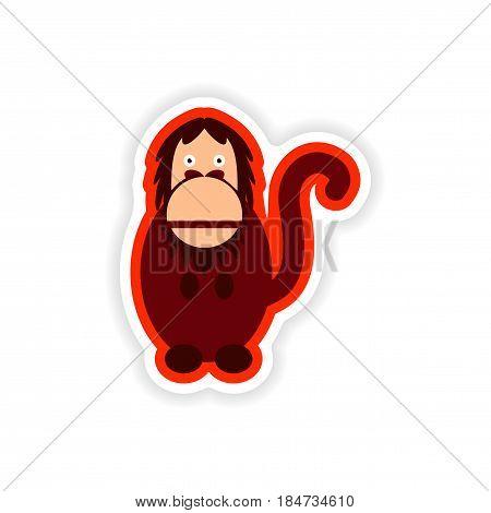 paper sticker on white background bright gorilla