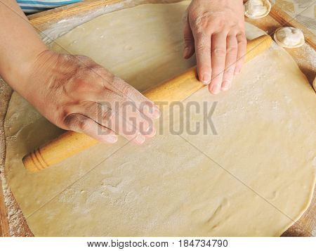 Rolling dough with a rolling pin for making dumplings.