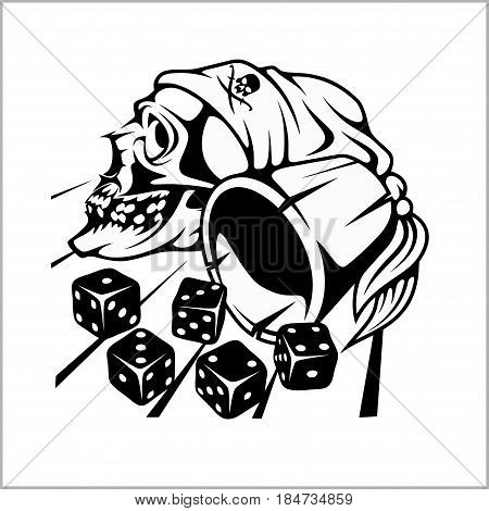 Skull and playing dice - vector illustration isolated on white