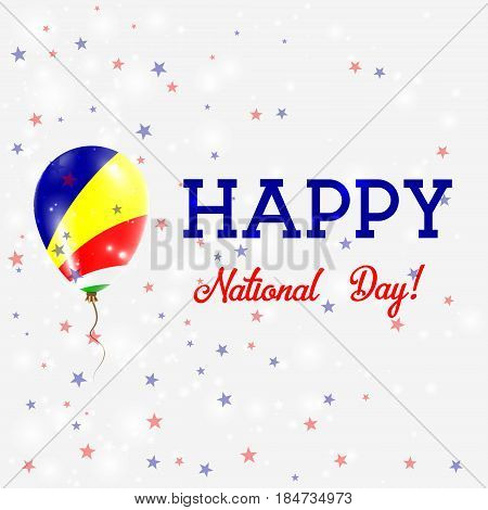 Seychelles National Day Patriotic Poster. Flying Rubber Balloon In Colors Of The Seychellois Flag. S