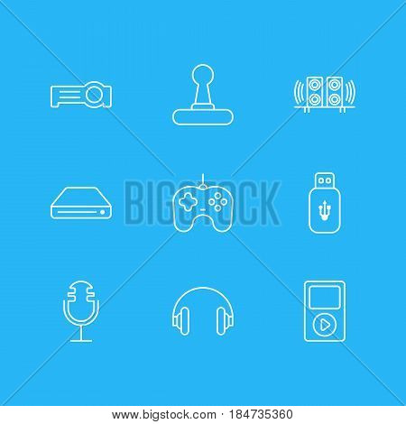 Vector Illustration Of 9 Gadget Icons. Editable Pack Of Joypad, Floodlight, Usb Card And Other Elements.