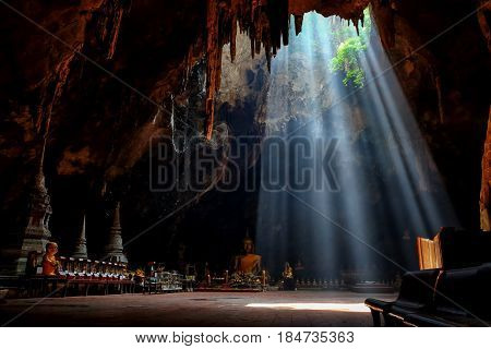 Amazing light in Khao Luang Cave in Phetchaburi Province Thailand