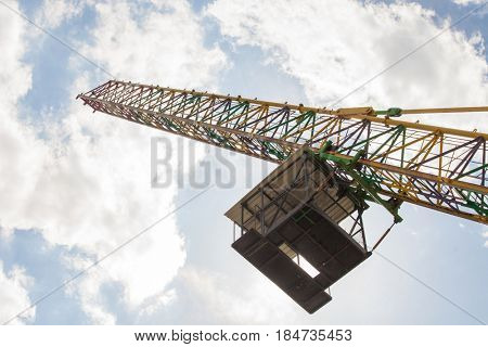 bungy jump crane  from below against sky