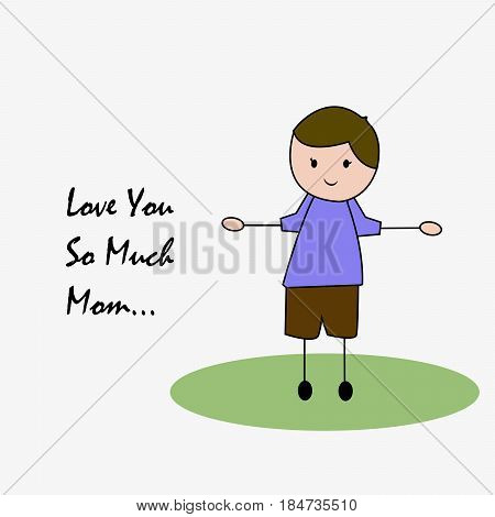Illustration of a boy with love you so much mom text for Mothers Day background