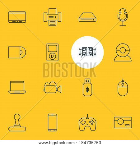 Vector Illustration Of 16 Technology Icons. Editable Pack Of Usb Card, Loudspeaker, Joypad And Other Elements.