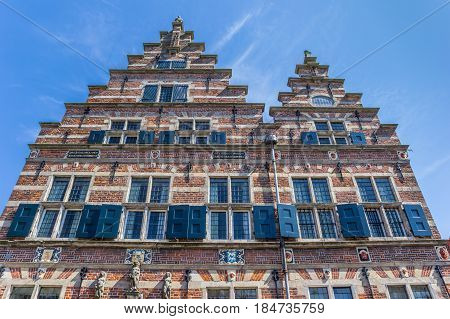 Decorated Facade Of The Old Town Hall In Naarden