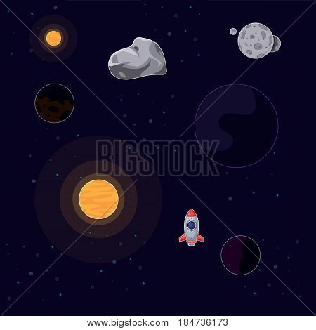 Vector illustration rocket flying in space between sun, moon, stars and asteroids on a dark background. Vector illustration rocket ship