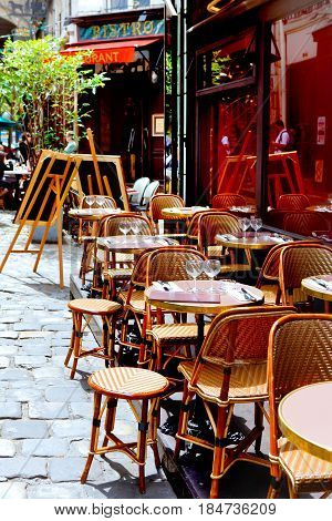 french restaurant - tables and chairs elegant place - Paris France