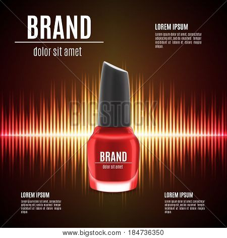 Red nail polish template. Nail polish product in glass bottle. Nail polish for cosmetic ads and magazine. 3d illustration. EPS10 vector