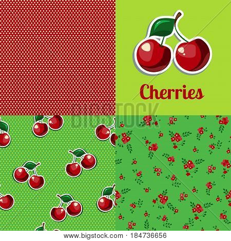 Cherries seamless pattern. Cherries background. Cherry logo