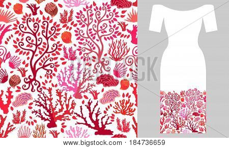 Seamless vector pattern with corals on white bacground. Summer textile collection.