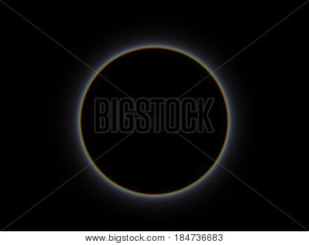 Full sun eclipse, total solar eclipse  illustration. Eclipse of the Moon