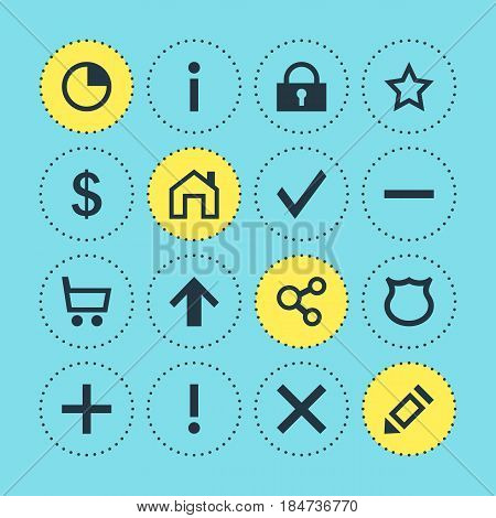 Vector Illustration Of 16 User Icons. Editable Pack Of Asterisk, Info, Mainpage And Other Elements.