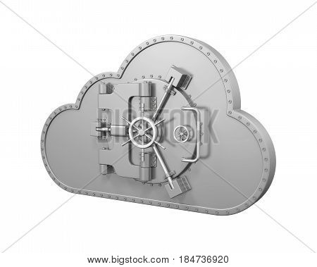 Cloud Computing Vault Security isolated on white background. 3D render