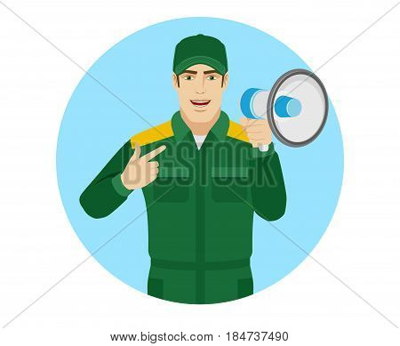 Worker pointing at a loudspeaker. Portrait of Delivery man or Worker in a flat style. Vector illustration.