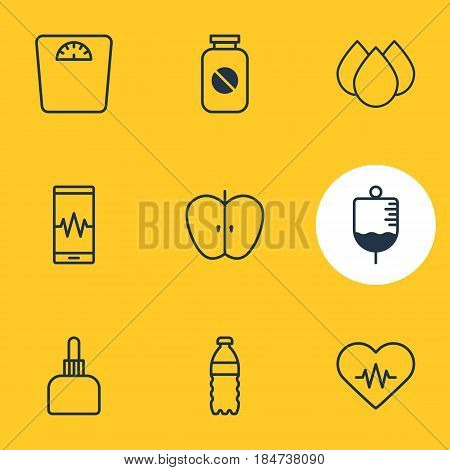 Vector Illustration Of 9 Medical Icons. Editable Pack Of Trickle, Antibody, Phone Monitor And Other Elements.