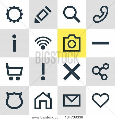 Vector Illustration Of 16 Interface Icons. Editable Pack Of Cogwheel, Seek, Cordless Connection And Other Elements.