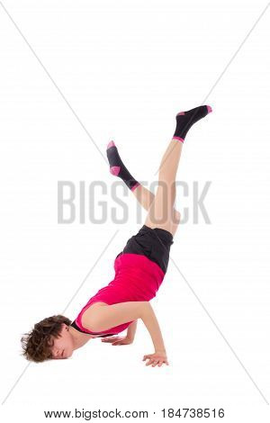 young female dancing break dance on white background