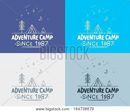 Trendy Camping Label. hand drawn t shirt Print. Typographic Design. vector illustration for you design