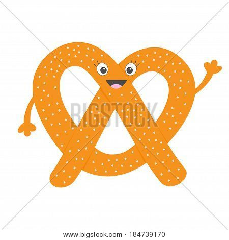 Soft pretzel icon. Sweet salted bakery pastry. Cute cartoon smiling character with face eyes and hand. Fast food snack. New York symbol. Isolated. White background. Flat design. Vector illustration