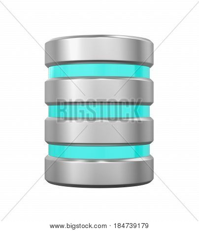 Database Icon isolated on white background. 3D render