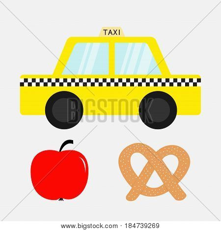 Taxi car cab icon. Soft pretzel bakery. Red apple fruit. New York symbol. Cartoon transportation collection. Yellow taxicab. Checker line light sign. Isolated. White background. Vector illustration