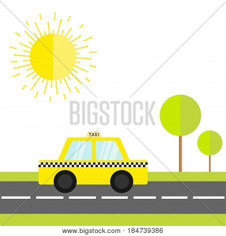 Taxi car cab icon on the road. Green grass tree shining sun. Cartoon transportation collection. Yellow taxicab. Checker line light sign. New York symbol. White background. Vector illustration