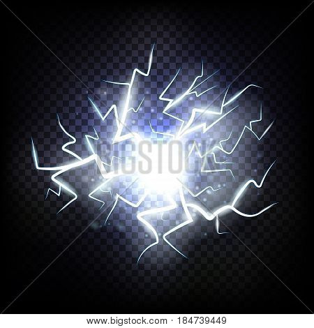 Ball lightning. Thunder on transparent background. Thunderbolt in sky. Electricity blast storm. Electric flash of lightning. Realistic vector illustration.