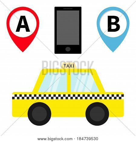 Taxi car cab icon. Placemark Map pointer navigation marker set. Phone Mobile app service. Cartoon transportation. Yellow taxicab. Checker line. New York symbol. Isolated. White background. Vector