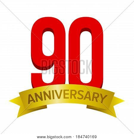 Big red number 90 with gold tape and text 'anniversary' below. Vector tag isolated on white background. Celebration label for ninety years