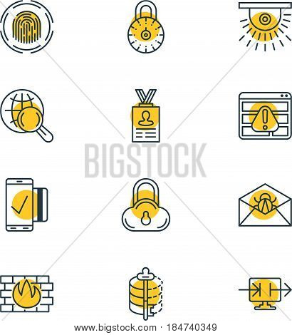 Vector Illustration Of 12 Web Safety Icons. Editable Pack Of Finger Identifier, Account Data, Easy Payment And Other Elements.