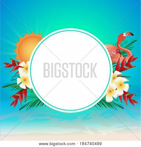 White circle for copy space decorated with sun, flamingo bird, heliconia flower, frangipani flower and coconut leaves on colorful background. Vector illustration of summertime.