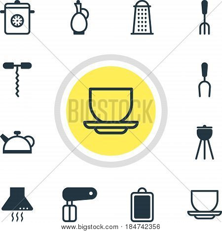 Vector Illustration Of 12 Cooking Icons. Editable Pack Of Steamer, Coffee Cup, Whisk And Other Elements.