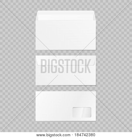 Set of blank 3d envelopes mockup. Collection realistic envelopes template. On background. Vector illustration