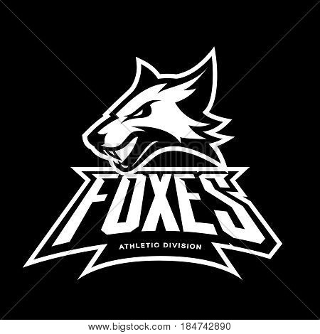 Furious fox sport club vector logo concept isolated on black background. Modern professional team badge mascot design. Premium quality wild animal athletic division t-shirt tee print illustration.