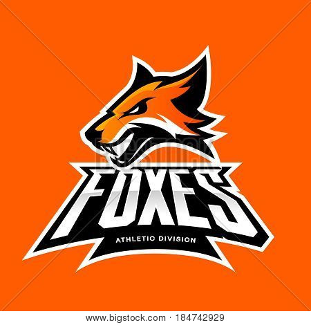 Furious fox sport club vector logo concept isolated on orange background. Modern professional team badge mascot design. Premium quality wild animal athletic division t-shirt tee print illustration.