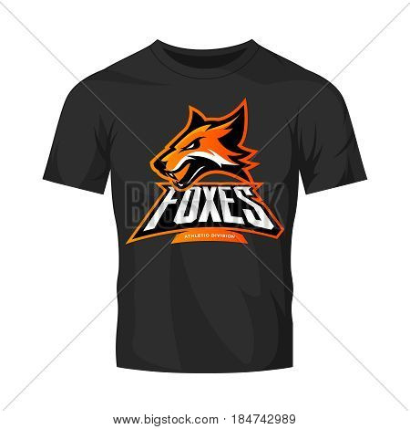 Furious fox sport club vector logo concept isolated on black t-shirt mockup. Modern professional team badge mascot design. Premium quality wild animal athletic division t-shirt tee print illustration.