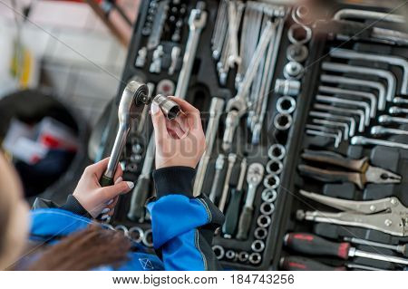 Keys for car repair in a car workshop