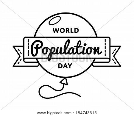 World Population Day emblem isolated vector illustration on white background. 11 july global social holiday event label, greeting card decoration graphic element